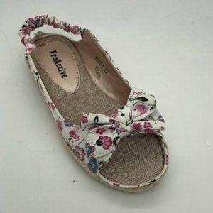 Girls Shoes ProActive Tara White Floral SlingBack Sandals